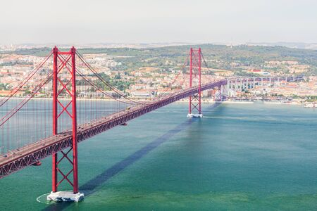 salazar: 25th of April Bridge in Lisbon. Panoramic view of Lisbon, the Tagus River and Bridge from the National Sanctuary of Christ the King