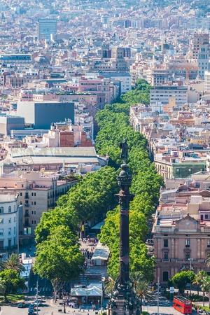 La Rambla in Barcelona, Spain. Aerial view