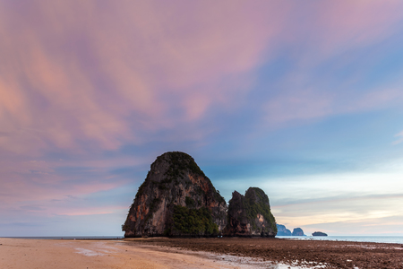 phra nang: Sunset at Phra Nang Beach, Krabi, Thailand Stock Photo
