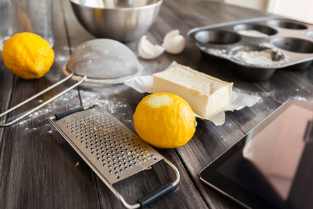 Ingredients for the dough and baking. The process of making cakes for a cake Napoleon Stock Photo