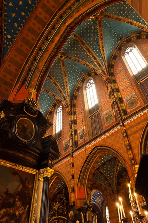 Interior of a medieval gothic St Marys church in Krakow