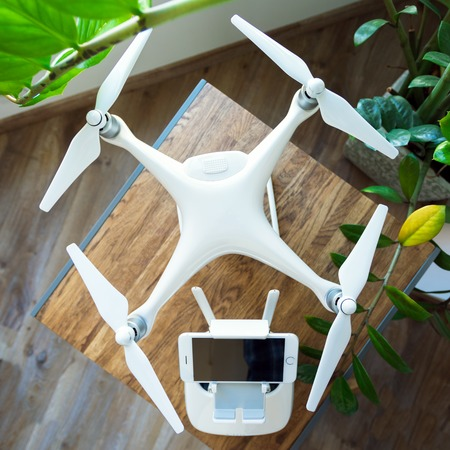 The concept of preparation drone for aerial flight Stock Photo