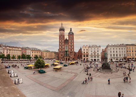 Church of St. Mary in the main Market Square. Krakow. Editorial