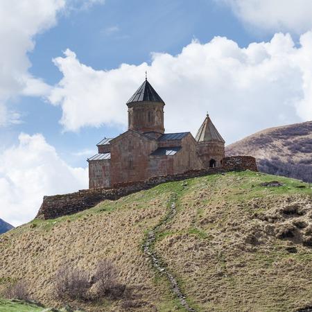 georgian: Gergeti Trinity Church Or Tsminda Sameba near village Stepantsminda, Georgia