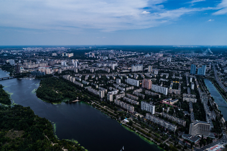 Panoramic view of the city of Kiev with the Dnieper River on the left bank. Aerial view