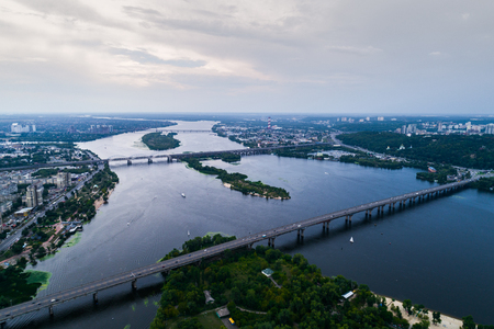 residential construction: Panoramic view of Kiev city with the Dnieper River in the middle. Aerial view Stock Photo