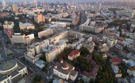 A view from the air to the central street of Kiev - Khreshchatyk, the European Square, Independence Square, Stalin and modern architecture. Ukraine