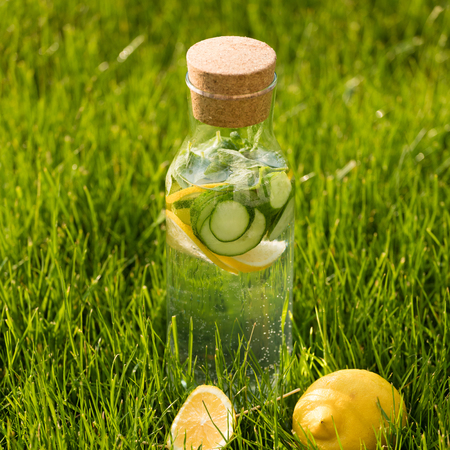 cucumbers: Summer fresh lemonade from lemons, mint and cucumber. Detox Water Stock Photo