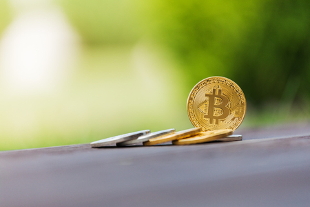 net: Gold and silver crypto currency bitcoin against the background of green grass Stock Photo