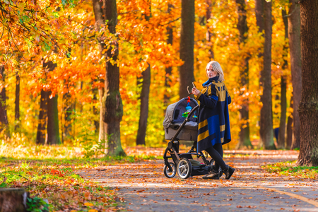 A young mother with a stroller walks through the autumn park back to the camera.