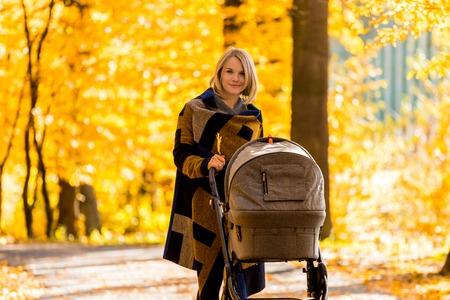 Een jonge moeder met een wandelwagen loopt door het de herfstpark Stockfoto