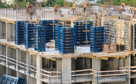Construction of an apartment house Stock Photo