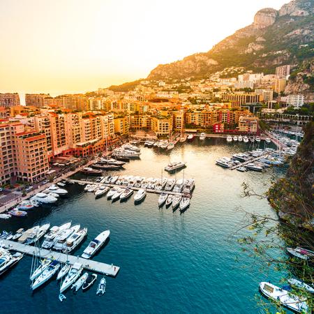 Panoramic view of Port de Fontvieille in Monaco. Azur coast.