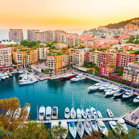 Panoramic view of Port de Fontvieille in Monaco. Azur coast.