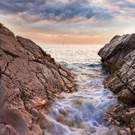Beautiful seascape near Dubrovnik in the Adriatic sea at sunset.