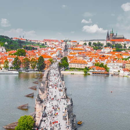 Panorama of Prague from the Old Town Bridge Tower, Czech Republic.