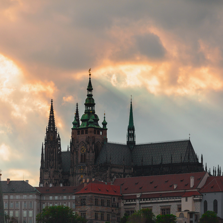 Panoramic view of St. Vitus Cathedral and Castle in Prague, Czech Republic