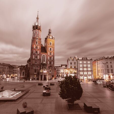 St. Marys Church at night. Krakow Poland.