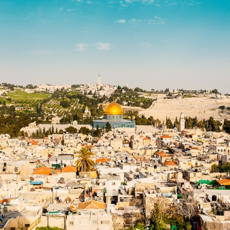 Old city Jerusalem. View from Lutheran Church of the Redeemer. Stock Photo