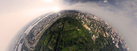 Panorama of 180 degrees of the National Botanical Garden in Kiev. Aerial view