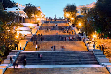Potemkin Stairs in Odessa at dusk with light, Ukraine 스톡 콘텐츠