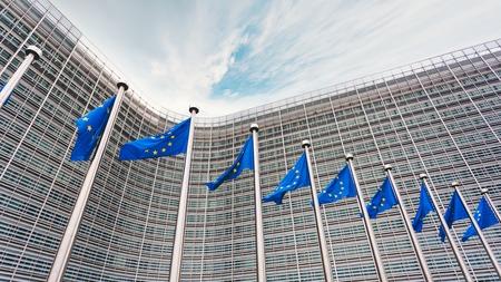 La file d'attente des clochers aux drapeaux bleus de l'Union européenne