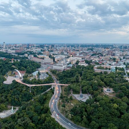 Aerial view of the new glass bridge in Kiev at night