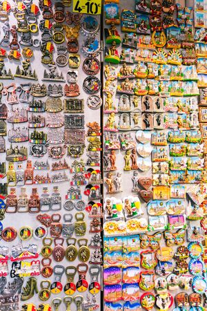 Magnets souvenirs from Brussels on a showcase