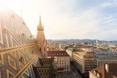 View of the city from the observation deck of St. Stephens Cathedral in Vienna, Austria