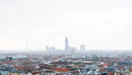 Aerial Vienna city panorama from Vienna Ferris wheel in Wurstelprater, Austria. Skyline view Reklamní fotografie