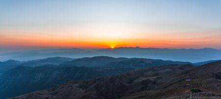 Beautiful sunset over Taurus Mountains from the top of Tahtali Mountain near Kemer, Antalya, Turkey