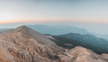 View of the rocky mountains from the top of Tahtali mountain in Turkey