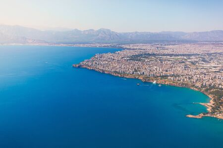 Aerial view of the Mediterranean Sea and the coast of Antalya and the city itself from the sea, Turkey