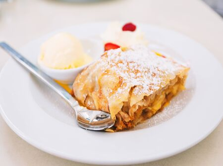 A real Vienna apple strudel with a scoop of cream ice cream and whipped cream, garnished with pieces of seasonal berries in a cafe in Vienna, Austria Reklamní fotografie