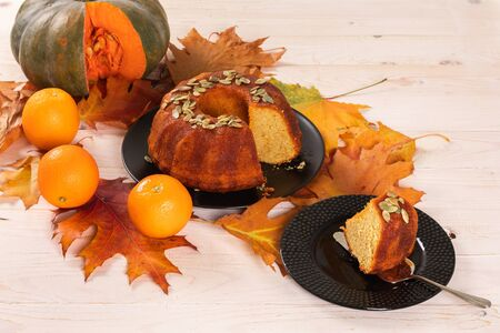Pound Pumpkin cake Poured With Orange Syrup