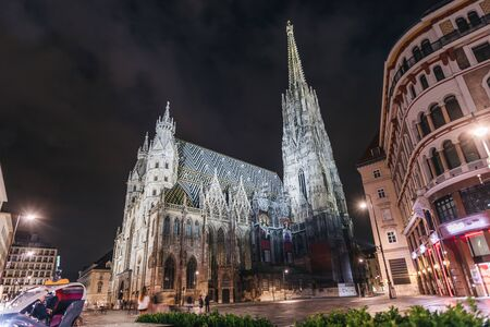 St. Stephens Cathedral on Stefansplatz in Vienna at night with long exposure, Austria. Imagens