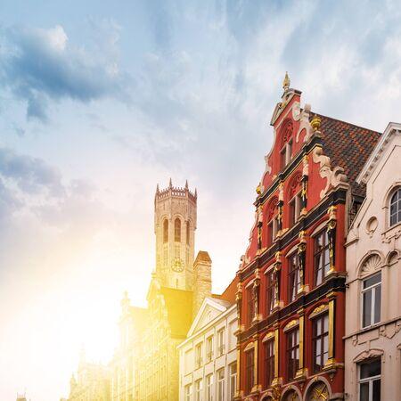 Noordzand street with Flemish houses, Bruges, Belgium Reklamní fotografie - 133816089