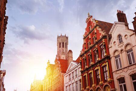 Noordzand street with Flemish houses, Bruges, Belgium Reklamní fotografie - 133818754