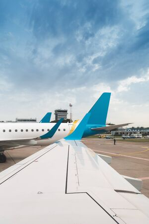 View of an airplane from the cockpit of another airplane
