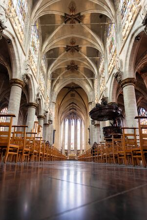 Interior inside the Church of Our Lady of Victory in Sablon or Eglise Notre-Dame-du-Sablon, Brussels, Belgium