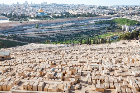View from the Mount of Olives to Dome of the Rock and the old city of Jerusalem, Israel Stock fotó