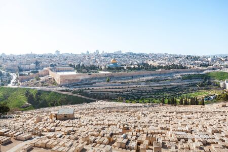 Panoramic view from the Mount of Olives of Temple Mount and the old city of Jerusalem, Israel