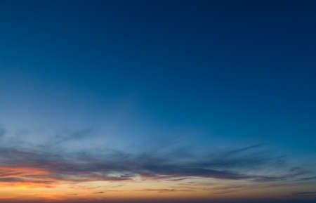 Large panorama with sunset sky with multicolor clouds
