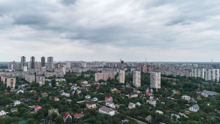 Kiev. Ukraine. Panorama of the city on the left bank of the Dnieper. New bridge Banco de Imagens