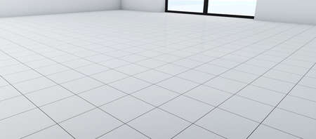 White floor with ceramic tiles in perspective. A room with a window on the floor with clean white glossy tile with contrasting black seams. Banco de Imagens