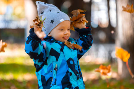 A little baby boy playing with colorful fallen leaves in the park in autumn. Banco de Imagens