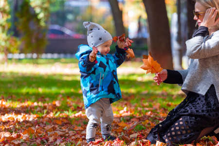 Mother and son are played in the fallen leaves for a walk in the city park Banco de Imagens