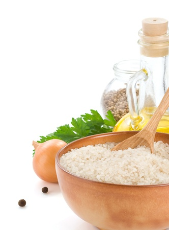 rice and food ingredient isolated on white background Stock Photo - 11446757