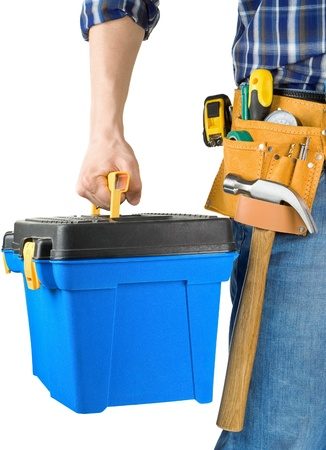 suede belt: el hombre y la caja de herramientas con conjunto de herramientas aisladas sobre fondo blanco Foto de archivo