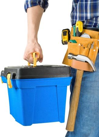 Mann und Werkzeugkasten mit Werkzeugsatz isoliert auf weißem Hintergrund Standard-Bild